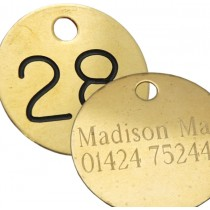 38mm Brass Tag, Black Filled and Etched on Reverse