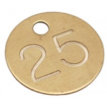 25mm Deep Engraved Numbered Tag, Brass