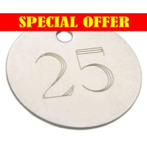 SPECIAL OFFER 1-100, 25mm Etched Nickel Plated Brass Tag (PRICED PER 100 TAGS)