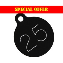 SPECIAL OFFER, 25mm Black Aluminium Tags, 1-100 (PRICED PER 100 TAGS)