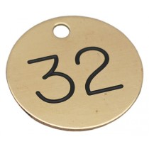 32mm Engraved Brass Disc, Black Filled