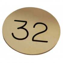 32mm Engraved Brass Tag, Black Filled, No Hole