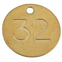 32mm Deep Engraved Numbered Tag, Brass
