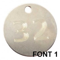 32mm Etched / Engraved Nickel Plated Brass Disc Tag