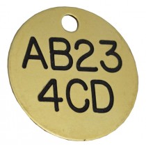 Fleet Car / Truck Registration ID Disc, Brass Black Filled, 32mm