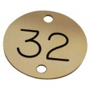 32mm Two Holed Brass Black Filled Disc