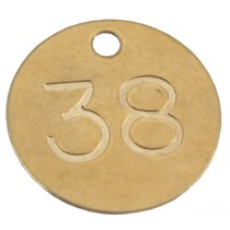 38mm Deep Engraved Numbered Tag, Brass