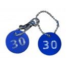 Aluminium Cloakroom Tags, 30mm, Pair with Ball-chain and Clips