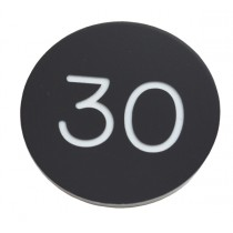 30mm Plastic engraved numbered key tag, black / white - No Hole