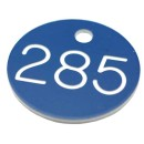30mm Plastic engraved numbered key tag, blue / white