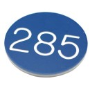 30mm Plastic engraved numbered key tag, blue / white - No Hole