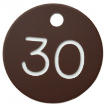 30mm Plastic engraved numbered key tag, brown / white