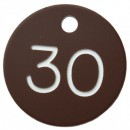 SPECIAL LIMITED OFFER (1-100) 30mm Plastic numbered key tag, brown / white (PRICED PER 100 TAGS)