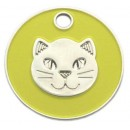 Enamelled Cat Head ID Tag