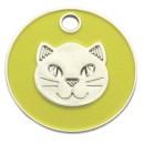 Enamelled Cat Head ID Tag