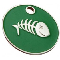 Enamelled Fish Bone Cat ID Tag