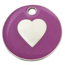 Enamelled Heart Cat ID Tag
