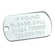 Silver Plated If Found Engraved Tag, 50x29mm