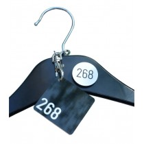 Square Cloakroom Tag, with clip and self adhesive disc for hanger
