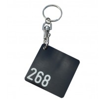Square Cloakroom Tag, with clip