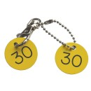 Cloakroom Tags, 30mm, Pair with Ball-chain and Clips