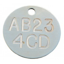 Registration Identification Tag, Deep Engraved Brass, 32mm