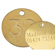 32mm Brass Tag, Deep engraved and Etched on Reverse