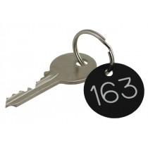 30mm Plastic engraved numbered key tag, black / white