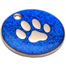 Engraved Dog ID Tag, (Glitter Paw) Various Colours