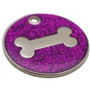 Engraved Dog ID Tag, (Glitter Bone) Various Colours