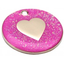 Engraved Dog ID Tag, (Glitter Heart) Various Colours
