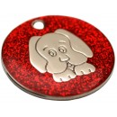 Engraved Dog ID Tag, (Glitter Puppy) Various Colours