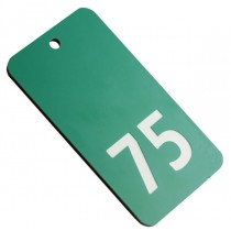 Green with white numbered key fob, 75mm x 40mm