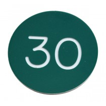 SPECIAL LIMITED OFFER  30mm Plastic numbered key tag, green / white (PRICED PER 100 TAGS) - No Hole