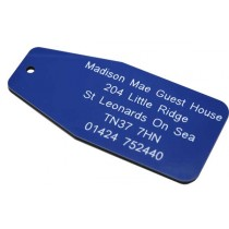 Blue with white text & number tag, 100mm x 47mm
