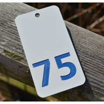White with BLUE number key fob, 75mm x 40mm SPECIAL OFFER