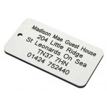White with black text & number tag, 75mm x 40mm