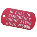 In case of emergency engraved aluminium tag, 50x30mm
