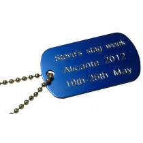 Engraved Aluminium Tag with neck Chain, 50x30mm