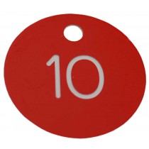 30mm Plastic engraved numbered key tag, red / white