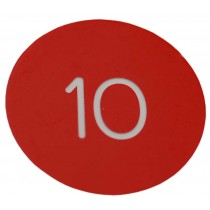 30mm Plastic engraved numbered key tag, red / white - No Hole