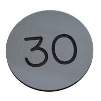30mm Premium Colour Plastic engraved numbered locker/door disc, silver/grey, black number - No Hole
