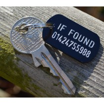Small 'If found' engraved aluminium tag, 38x22mm