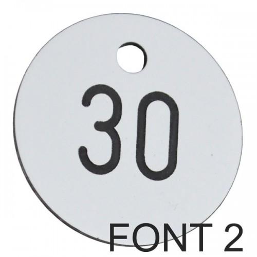30mm Plastic Engraved Numbered Key Tag White Black
