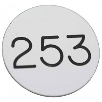 30mm Plastic engraved numbered key tag, white / black - No Hole