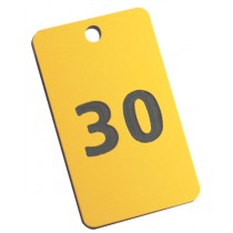 Yellow with black numbered tag, 50mm x 30mm